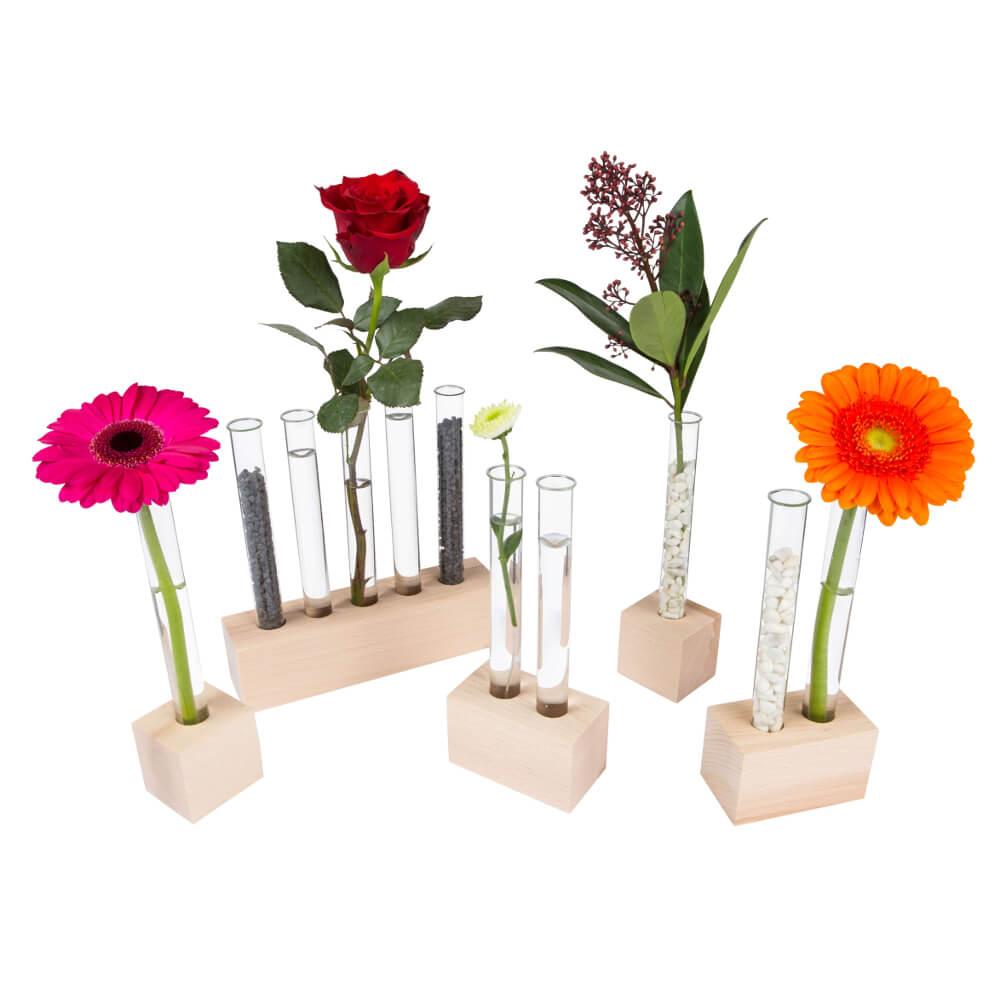 reagenzglas vasen aus holz tischdeko kaufen. Black Bedroom Furniture Sets. Home Design Ideas