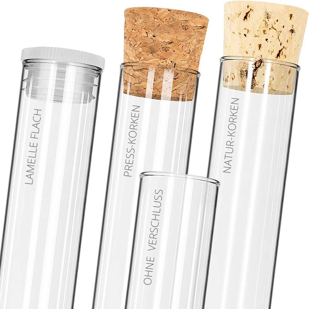 Korken inklusive ✓ 100x Reagenzgläser 180x18mm mit Flachboden /& Bördelrand
